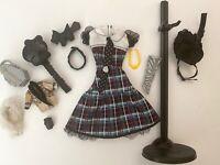 MONSTER HIGH DOLL CLOTHES W/ ACCESORIES FRANKIE STEIN PLAID DRESS w/ BOWTIE