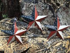 "(Set of 3 ) 12"" PATRIOTIC AMERICANA PRIMITIVE AMERICAN G8T W BLACK BARN STARS"