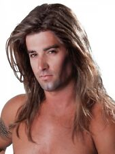 Mens Fabio Wig Sexy Male Model Long Brown Bleached Blonde Costume Dress Up Party