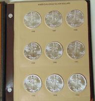 Set of 20 American Silver Eagles .999 Silver Dollars 1986-2005 in Dansco Album