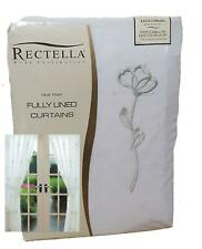 Alessia 90x90' Green Embroidered Lined Voile Curtains