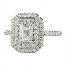 Engagement Ring 14k White Gold Fn 1.21cts Emerald Cut Diamond Double Halo
