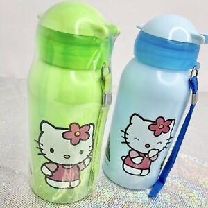 2005 SANRIO HELLO KITTY Green PLASTIC WATER BOTTLE STRAP DRINK CONTAINER CUP New