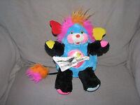 """1986 Mattel Popples Punkster Popple Guitar Earring Black Rock Star Plush 11"""""""