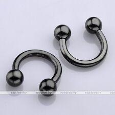 14G Black 8mm Horseshoe Round Hoop Barbell Septum Nose Helix Tragus Earring Gift