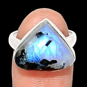 Rainbow Moonstone And Quartz 925 Sterling Silver Ring Jewelry s.6 BR108133