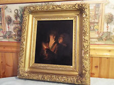 ANTIQUE CIRCA 1850 STUNNING MOTHER AND CHILD PAINTING ON TIN  IN ORIGINAL FRAME
