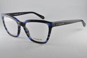 Coach Eyeglasses HC 6109 5477 Blue Glitter Varsity Stripe, Size 52-18-135