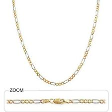 "3.50mm 16"" 7.00 gm Solid 14k Tri Color Gold Unisex Figaro Chain Necklace"