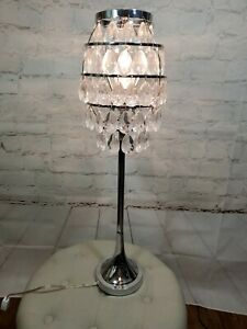 """Crystal Silver Table Lamp Decorative Lamp W/ Crystal Shade bedroom US ST 29"""""""