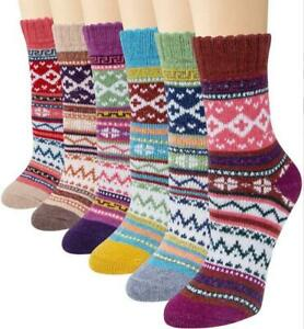 5 Pairs Thick Rich Casual Chuncky Mens Warm Wool Christmas Thermal Cotton Socks
