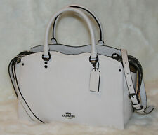 NWT! COACH Drew Satchel Mixed Snakeskin Leather Tote Bag Purse in Chalk $450