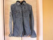 Jack & Jones Originals Toki Shirt Jean Jacket Removable Hoody Men's S Small NICE