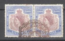 Singapore revenues pair of $100 QEII 1953 fiscal