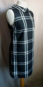 Next Fab Wool Blend Black and White Check Tunic / Shift Dress size 10