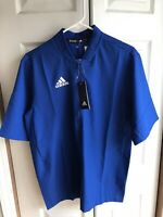NWT $65 Men's Adidas Team Iconic SS 1/4 Zip Cage Blue Jacket Baseball Size Small