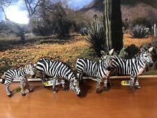 Schleich Lot Of 4 Zebras Figurine Wildlife Action Figure D-73508 Nwt
