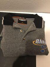 THE COOLEST GAME NHL ~ Vintage ST. LOUIS BLUES men's gray Polo size L, Large