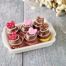 6x Red Heart Cupcake Ceramic Tray Dollhouse Miniatures Sweet Valentine Gift Set