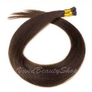 200 I Bond Stick Glue Tip Straight Remy Human Hair Extensions Medium Dark Brown