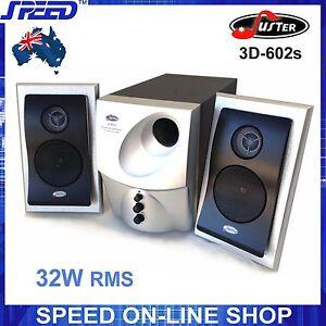 Juster 3D-602 Multimedia 2.1 Speaker System for Desktop PC, iPad, iPhone - 240V