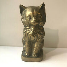 Vintage Sitting Brass Kitten Cat Figurine w Long Hair Fine Detail Patina 7.25""