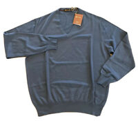 1,000$ Loro Piana Blue Cashmere Light Sweater Size XXL, EU 56 Made in Italy