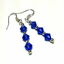Silver Plated Crystal Drop/Dangle Round Costume Earrings