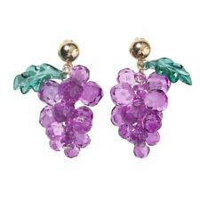 BUNCH OF GRAPES Earrings~Acrylic Lilac Crystal Beads~Purple~Wine~Fruit~Festival
