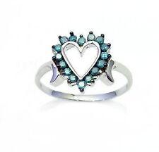 Blue Diamond Ring 10K White Gold Blue Diamond Heart Ring .25ct  Great Gift