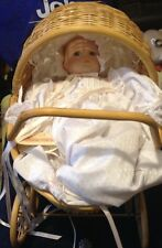"Vintage MUSICAL Bisque 12"" DOLL by Bette Ball for GOEBEL with Wicker Carriage"