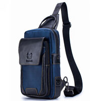 Cow Leather+Oxford cloth Mens Cross Body Shoulder Bags Sling Backpack for Hiking