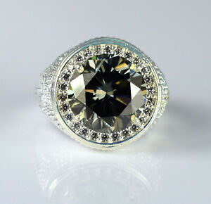 Great Brilliance 9.44 Ct Gray Diamond Solitaire With Accents Men's Ring