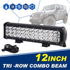 "12"" 360W TRI-ROW CREE LED WORK LAMP LIGHT BAR SPOT FLOOD COMBO TRUCK DRIVING 13"""