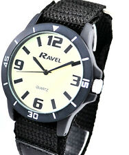 Ravel Mens Luminous Glow in the Dark NITE-GLO Watch Easy Fast Fit Black Strap