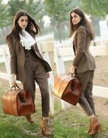 Women's Tweed Herringbone Suits 3 Pieces Wool Double Breasted Pantsuits Business
