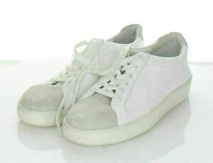16-44 NEW $225 Women Sz 7 M Vince Janna Leather/Suede Lace-Up Sneaker In White