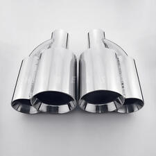 "Pair 2.25"" In Quad Out Dual Wall Straight Cut 304 Stainless Steel Exhaust Tips"