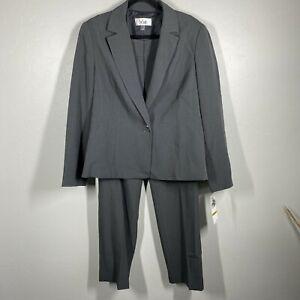 LE SUIT 2-PC Gray 1-Button Jacket Notched Lapel Tailored Pant Suit 14 NWT $200