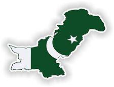 Sticker Silueta Pakistán Mapa Bandera Para Parachoques Guitarra Patineta Locker Tablet