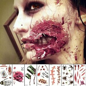 400+ Zombie Tattoos Cuts Blood Bullet Spider Stitches Scar For Prank Prop Decor
