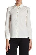 "NWT $328 LOVE MOSCHINO ""Arricciata"" White Puff Sleeve Classic Shirt Blouse Top 4"