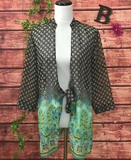 Coldwater Creek Front Ties Blouse size Medium Brown Teal Dots Floral Sheer Boho
