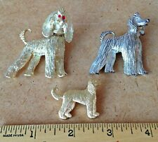 Three Still Standing Vintage Metal Afghan Hound Dogs To Wear In Style!