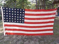 "United States American 48 STAR FLAG Cloth Hand Sewn Military HUGE 56x110"" L@@K"