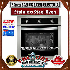 60cm Electric Fan Forced Wall Oven In Stainless Steel Black Glass Brand New!