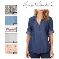 NEW! Ladies' Gloria Vanderbilt Giselle  Roll Tab Sleeve Blouse - VARIETY - A44