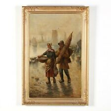 Old World Fish Market Harbor Dutch Couple Oil Board estate art painting signed