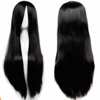 80cm Black Women Long Straight Hair Full Wig Fashion Costume Party Anime Cosplay