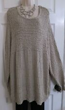 NEW Long Cotton Tunic Sweater Top by Lane Bryant Plus 26/28 (3X/4X) Taupe